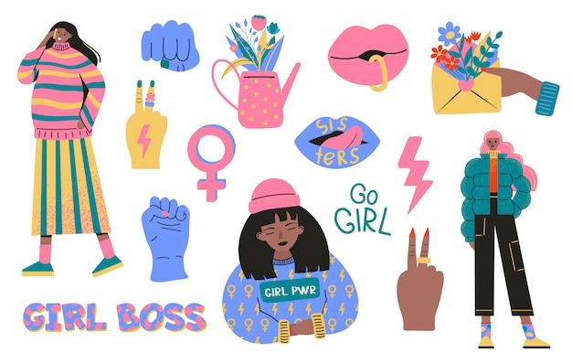 페미니즘과 신체 양성 운동의 상징 수집. 페미니스트 및 신체 긍정적 인 슬로건 또는 문구와 함께 다채로운 스티커 세트. 플랫 만화 스타일의 현대적인 그림
