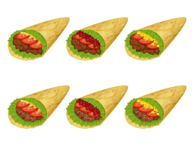 Коллекция вкусных мексиканских буррито иллюстрации на белом фоне