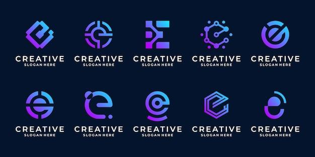 추상 문자 e 기호 디지털, 데이터, 점, 연결 및 비즈니스 대상 기술 로고 템플릿의 컬렉션입니다.