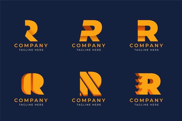Коллекция шаблонов с плоскими логотипами r