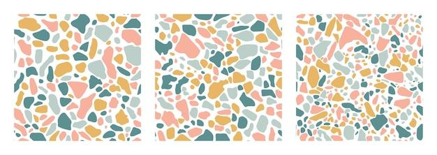 青、黄、ピンク色のシームレスパターンをカバーするテラゾ床のコレクション。ベネチアンスタイルのイタリアの床のベクトルの背景。トレンディなスタイルの花崗岩のテクスチャ。