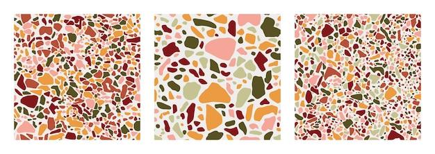 緑、テラコッタ、ピンク、黄色のシームレスなパターンをカバーするテラコッタの床のコレクション。ベネチアンスタイルのイタリアの床のベクトルの背景。トレンディなスタイルの花崗岩のテクスチャ。