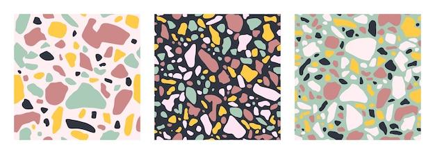 ミント、ピンク、ブルー、イエローの色でシームレスなパターンをカバーするテラゾ床のコレクション。ベネチアンスタイルのイタリアの床のベクトルの背景。トレンディなスタイルの花崗岩のテクスチャ。