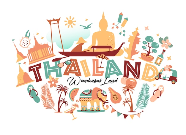Коллекция символов таиланда с текстом. иллюстрация путешествия. веб-баннер путешествия с буквами.