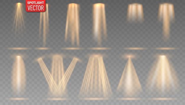 무대, 장면, 연단에 골드 스포트라이트의 컬렉션이 빛납니다. 스포트라이트가있는 밝은 조명.