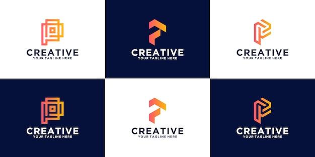 비즈니스, 금융, 패션 및 기술 컨설팅을 위한 문자 p 모노그램 로고 컬렉션
