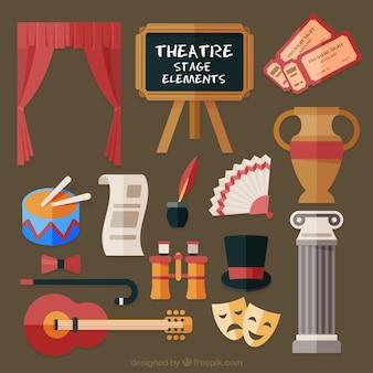 Коллекция театральных элементов в плоском дизайне