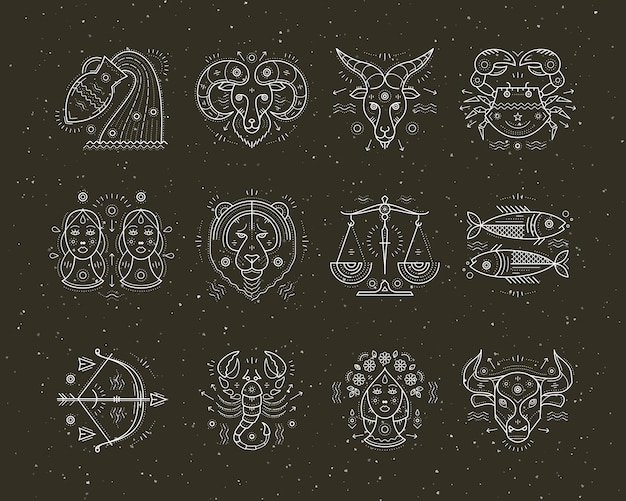 Коллекция астрологии тонкой линии и символов зодиака. графические элементы.