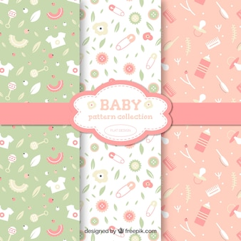Collection of three baby patterns in soft tones