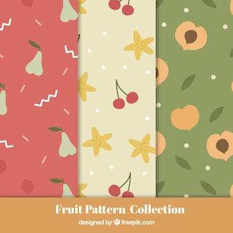Коллекция из трех декоративных узоров с различными фруктами