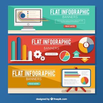 フラットなデザインの3インフォグラフィックバナーのコレクション