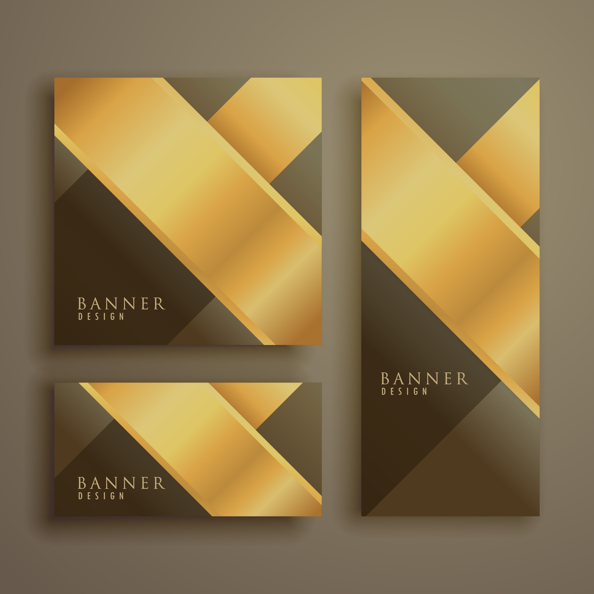 Collection of three luxury banners in different shapes