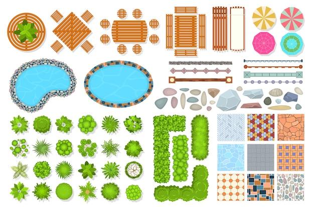 Коллекция предметов парка с видом сверху