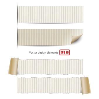 흰색 바탕에 찢어진 된 종이의 컬렉션