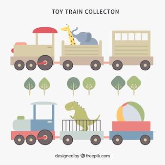 Коллекция поездов в плоском дизайне с симпатичными персонажами