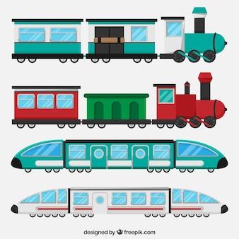 フラットデザインでの列車の収集
