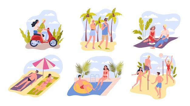 여행 및 휴가 카드의 컬렉션입니다. 사람들은 해변에서 휴식을 취합니다. 여름 활동을 설정합니다. 해변 스포츠, 수영, 일광욕. 삽화