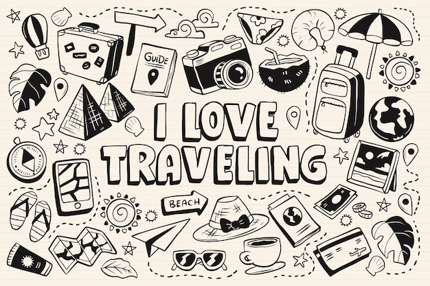 旅行単色落書き集