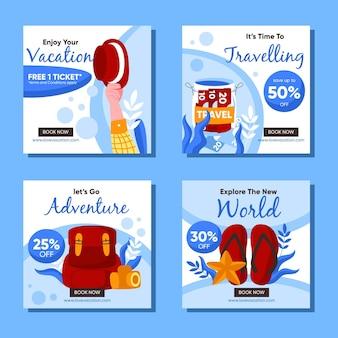여행 판매 소셜 미디어 게시물 모음