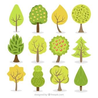 Коллекция деревьев в плоском дизайне