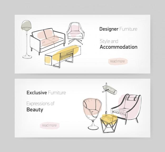 手でトレンディなwebバナーテンプレートのコレクションには、スタイリッシュな快適な家具とテキストのための場所が描かれています。