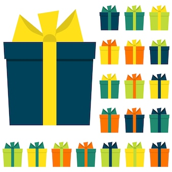 Коллекция из двадцати разноцветных подарочных коробок. векторная иллюстрация