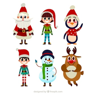 漫画スタイルの典型的なクリスマスキャラクターのコレクション