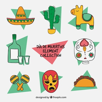 Collection of typical mexican hand drawn element
