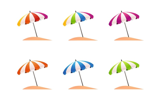 Коллекция зонтов для летней распродажи элементов декора баннера