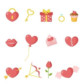 Коллекция тематических элементов дня святого валентина