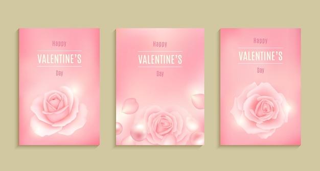 バレンタインデーカード、セール、ポスター、カード、ラベル、バナーデザインセットイラスト集