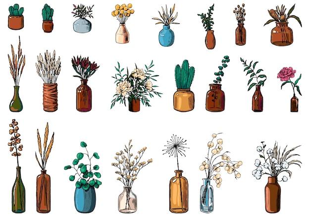 다양한 꽃병, 병, 꽃병, 식물의 수집품. 손으로 그린 벡터 일러스트 레이 션. 빈티지 식물 세트입니다. 장식 꽃 화려한 요소는 흰색으로 격리입니다.