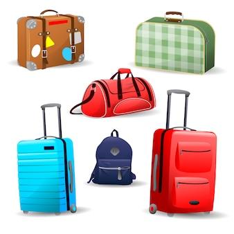 Коллекция различных сумок, дорожный чемодан