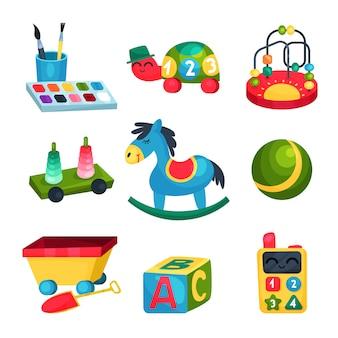 Коллекция различных детских игрушек. мяч, лошадка-качалка, кубик abc, бисерный лабиринт, черепаха с цифрами, краски с кисточками. веселые и развивающие игры. плоские значки