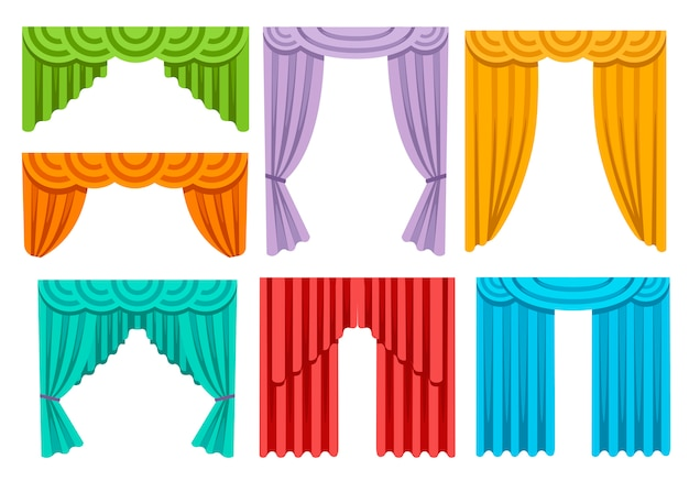 様々なカラフルなカーテンのコレクション。豪華なシルクのカーテンのインテリア。白い背景の上の図