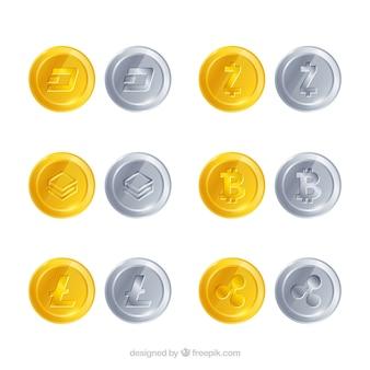 Коллекция различных криптовалютных монет