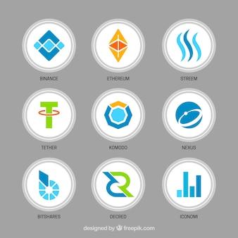 다양한 cryptocurrency 동전 수집