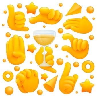 와인 글라스, 샤카 기호 및 기타 제스처와 함께 다양한 이모티콘 노란색 손 기호의 컬렉션입니다. 3d 만화 스타일.