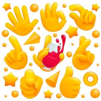 와인 글라스, 기호 및 기타 제스처를 thubs와 함께 다양한 이모티콘 노란색 손 기호의 컬렉션입니다. 3d 만화 스타일.