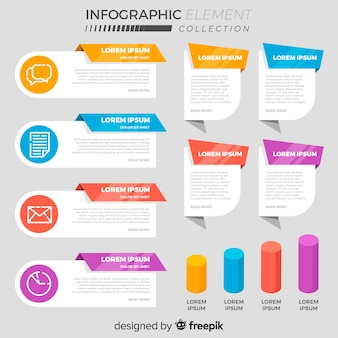 Collection of various flat infographic elements