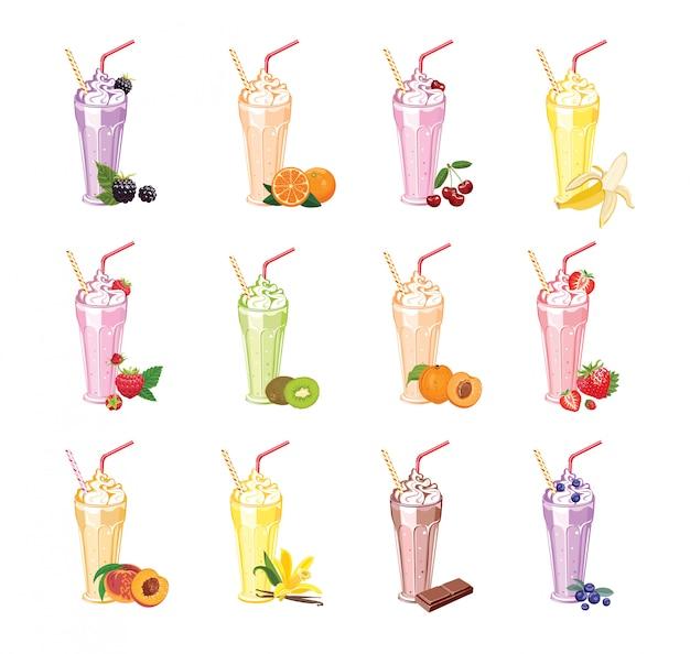 Коллекция различных фруктовых и ягодных молочных коктейлей в очках.