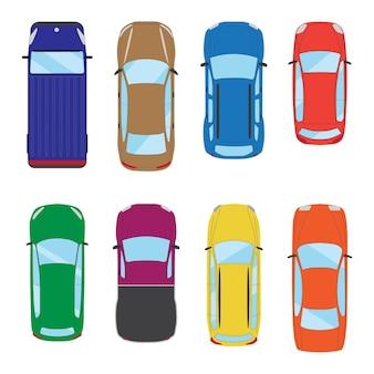 다양 한 격리 된 자동차 아이콘의 컬렉션 자동차 상위 뷰 그림 벡터