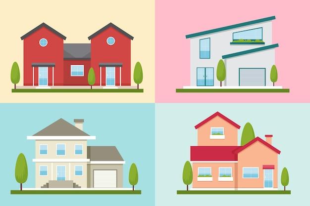 さまざまな現代住宅のコレクション