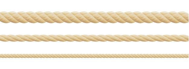 Собрание различной строки веревочек на белой предпосылке. каждый снимается отдельно