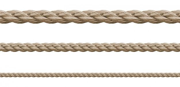 白のさまざまなロープ文字列のコレクション