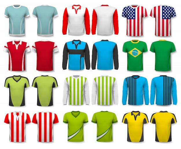 さまざまなシャツのコレクション。デザインテンプレート。 tシャツは透明で、独自のデザインのテンプレートとして使用できます。