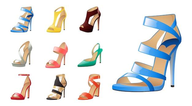 白で隔離される様々な靴のコレクション。