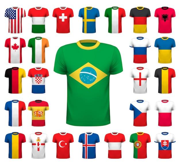 さまざまなサッカーユニフォームのコレクション。ナショナルシャツのデザイン。ベクトルイラスト