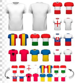 다양한 축구 유니폼 컬렉션. 티셔츠는 투명해서 나만의 디자인으로 템플릿으로 사용할 수 있습니다. 벡터.