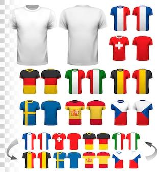 다양한 축구 유니폼 컬렉션. 티셔츠는 투명해서 나만의 디자인으로 템플릿으로 사용할 수 있습니다. 벡터